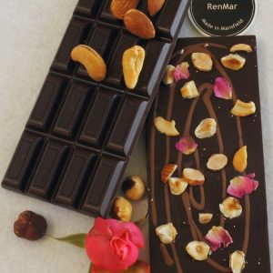 3 Nut Temptation 75g Dark Chocolate Slab with Rose Petals
