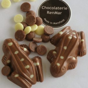 Gorgeous Milk Chocolate Frogs with White Chocolate Spots