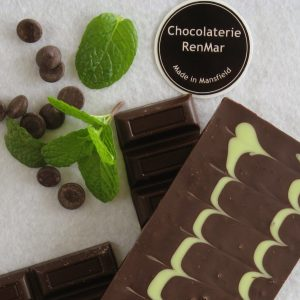 75g Peppermint Infused Dark Chocolate Slab Decorated with Mint White Chocolate