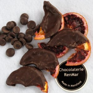 Dried Blood Orange Slices Dipped in Dark Chocolate