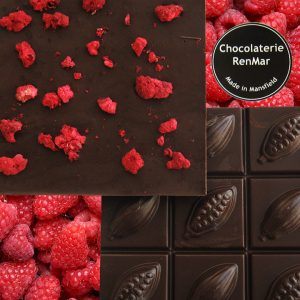 Freeze-dried raspberries in 70% dark chocolate