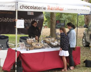 Good chocolate weather at the market stall.